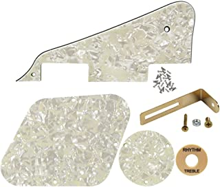 IKN 1 Set LP Pickguard/Control Cavity/Switch Cavity Cover/Bracket Gold/Cream Switch Indication Board/Tornillos para Les Paul Standard Guitar, 4Ply Aged Pearl