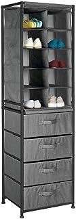 mDesign étagère Rangement – Meuble tiroir à 10 Compartiments et 4 tiroirs en Tissu – Commode tiroirs en métal Pratique pou...