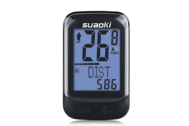 SUAOKI Wireless 2.4GHz Transmission Bike Cycling Computer with Cadence Sensor Bicycle Speedometer Odometer Track Calories User A//B Backlight Water Resistant etc 22 Function