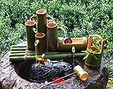H-BEI Kit de Fuente de bambú Solar, Bomba de Fuente Flotante de baño de pájaro de bambú, para Acuario de Estanque de jardín Independiente, pecera de Fuente, decoración de jardín