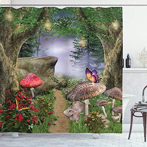 ABAKUHAUS Pilz Duschvorhang, Schmetterlinge Märchen, mit 12 Ringe Set Wasserdicht Stielvoll Modern Farbfest & Schimmel Resistent, 175x200 cm, Grün Rot Tan