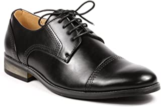 UV Signature G61069-133 Men's Lace Up Cap Toe Oxford Dress Shoes (10, Black)