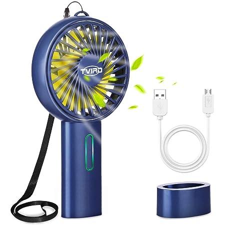 Tvird Ventilateur à Main Portable, Mini Ventilateur Silencieux Suspension,2200 mAh Grand Batterie,USB Rechargeable avec 3 Vitesses, Portable et pouvant être Suspendu - Bleu