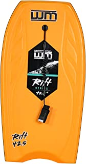 42.5 inch Ultimate Pro Hard Slick Bottom Bodyboard/Boogie Board with Grip Rail and Coiled Wrist Leash