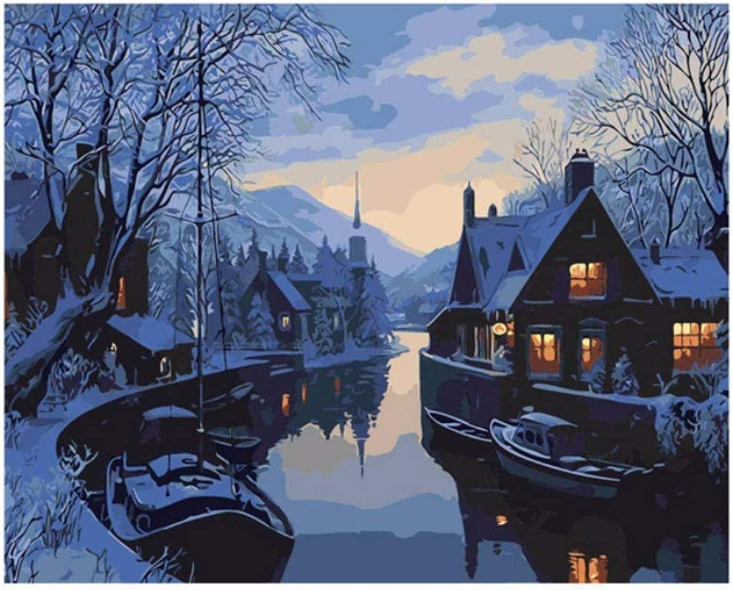 LIWEIXKY Cabin Painting By Numbers, Decoration Oil Painting For Living Room, Drawing By Numbers River, Framed, 50x60cm