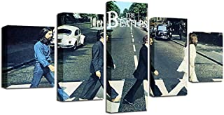 YANGMAN The Beatles Abbey Road Canvas Poster Wall Art Decor 5 Panels Framed Print Memorabilia Gifts for Guys and Girls Bedroom Ready to Hang,30x402+30x602+30x801