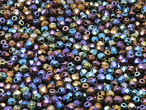 Fire-Polished Beads, 3 mm, 100 piezas, cuentas de vidrio facetadas redondas checas, pulidas al fuego, Jet Iris Rainbow (Heavy Metal Mix)