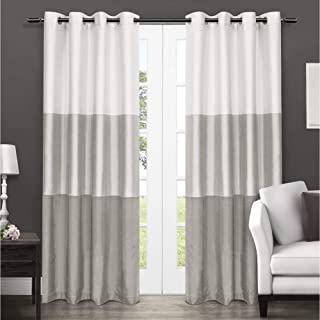 Exclusive Home Curtains Chateau Striped Faux Silk Window Curtain Panel Pair with Grommet Top, 54x84, Dove Grey, 2 Piece