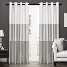 Exclusive Home Chateau Striped Faux Silk Window Curtain Panel Pair with Grommet Top 54x84 Dove Grey 2 Piece