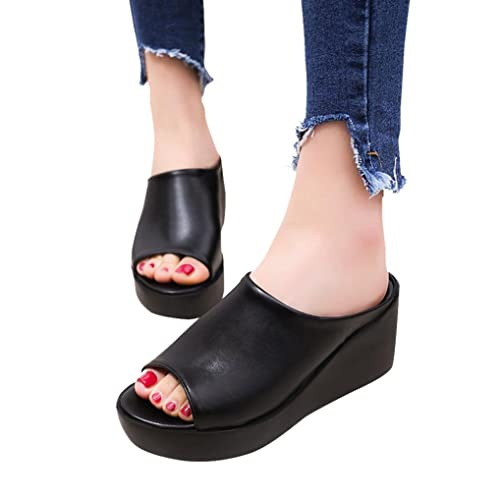 31d830f42ad Familizo Leather Wedge Sandals for Women Summer Slip on Peep Toe Platform  Heels Comfort Wide Fit