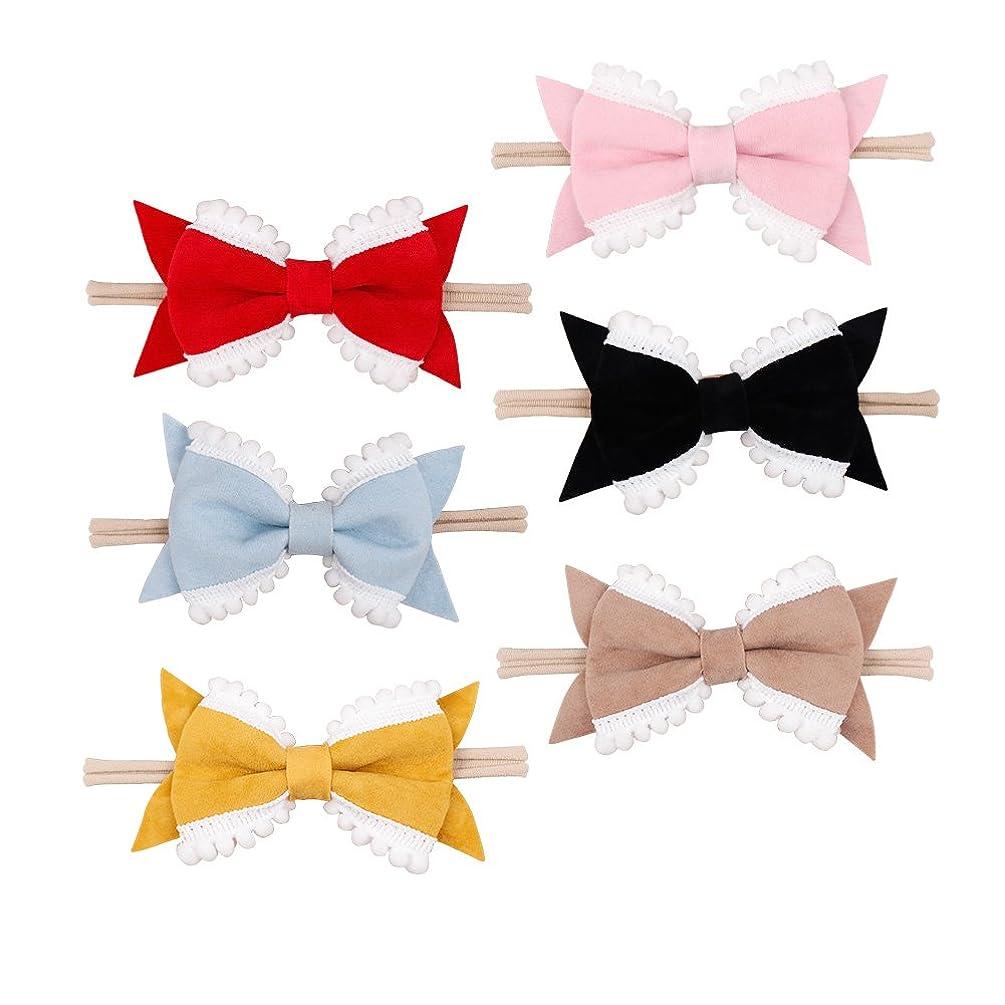 Ncmama 10Pcs Baby Girls Nylon Headbands Hair Bows Elastic Bands Newborn Infant Toddler Hairbands