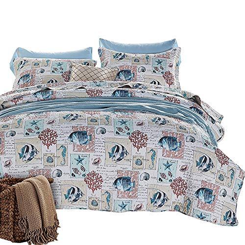 ZZKJBox 3 PièCes Couvre-Lit MatelasséE pour Lit Double/Draps Chauds - Four Seasons Universal (1 Couvre Lit 230 × 250 Cm + 2 Taies d'oreiller 50 × 70 Cm),Style Marin,Beige-Blue
