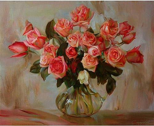 Waofe Peinture De Bricolage Rose Par Numéros 24 Peinture De Peinture Numérique à L'Huile Peinte à La Main- With Frame