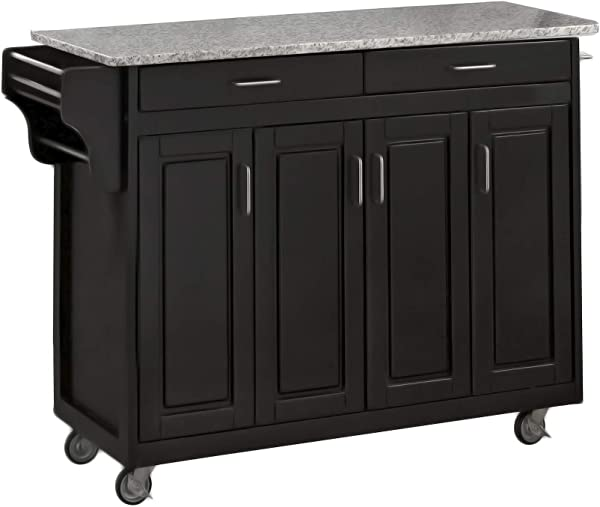 Create A Cart Black 4 Door Cabinet Kitchen Cart With Gray Granite Top By Home Styles