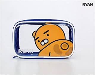 Kakao Friends Character Clear Pouch Travel Cosmetic Makeup Bag Cases (Blue-RYAN)