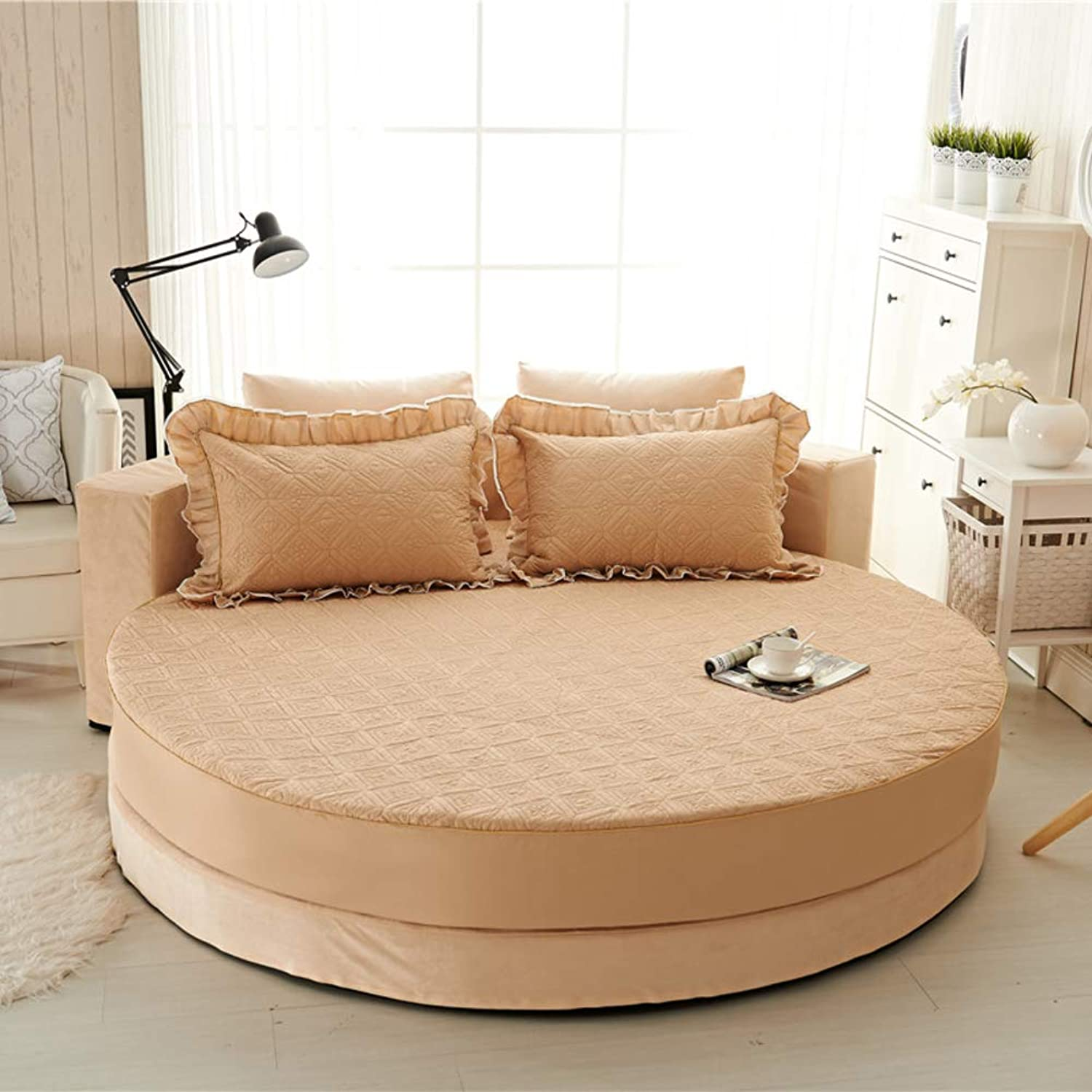 Cotton Round Bed Fitted Sheets,Quilted Thick Round Bed Cover Non-Slip Mattress Cover Extra Soft and Comfortable Bedspread Hypoallergenic-V diameter230cm(91inch) Version A
