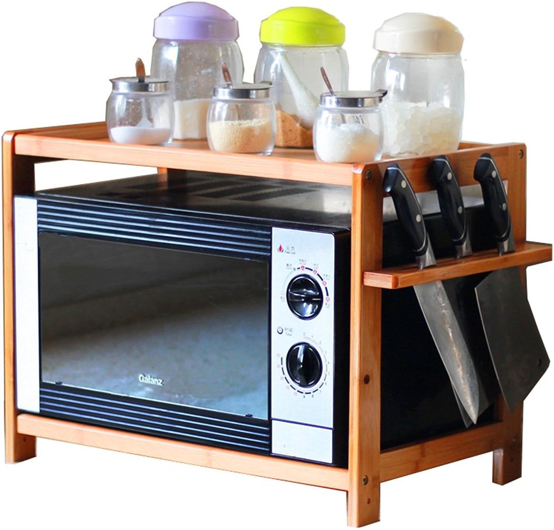 Kitchen Shelf - Double Layers Bamboo Storage Shelf Microwave Oven Racks Condiment Storage Shelf Adjustable Floor Height -by TIANTA (Size   60CM)