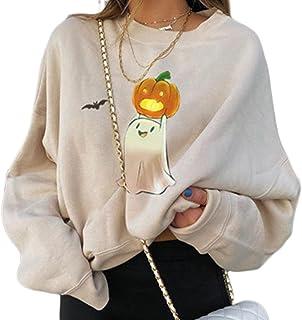 Vrouwen Halloween Grafische Sweatshirts Pompoen Ghost Lange Mouw Crewneck Pullover Mode Oversized Herfst Tops Tees, Beige ...