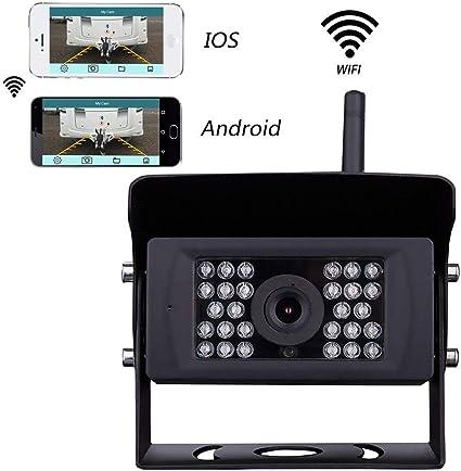 Podofo Caméra de Recul WiFi 12V-24V Caméra de Surveillance sans Fil Etanche Vision de Nuit pour Remorque, VR, Bus, Camions, Camions, Van, Autobus ...