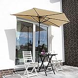 Sekey® semicircular sombrilla Parasol para terraza jardín Playa Piscina Patio diámetro 270 cm Protector Solar UV50+, Taupe