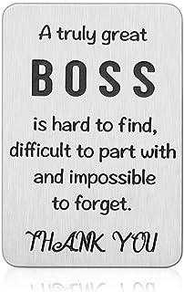 Boss Day Appreciation Gifts for Men Women Office Wallet Insert Card for Supervisor Mentor Leader Going Away Farewell Leavi...