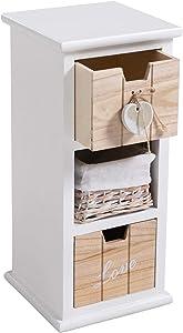 IDIMEX Chiffonnier PIEMONT Petite Commode avec 2 tiroirs et 1 Panier, en Bois de Paulownia Blanc Style Shabby Chic Vintage Rustique Romantique