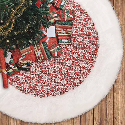 N&T NIETING Plush Christmas Tree Skirt Trimmed with Faux Fur 48 Inches, Xmas Tree Skirt Double-Layered for Christmas Decorations, Thick Plush Tree Ornaments