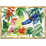 Les Jardins de la Comtesse - Vassoio Grande Rettangolare - Bordo in bambù - 50 cm - Uccel...