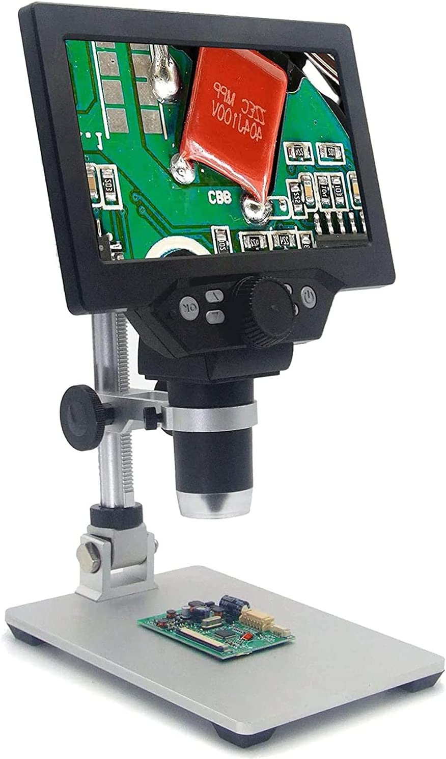 OFFicial site Digital Microscope with New color Aluminum Alloy 1-1200X Stand 7 12MP Inch
