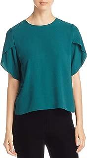 Womens Silk Jewel Neck Pullover Top