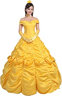 Ainiel Women's Cosplay Costume Princess Dress Yellow Satin