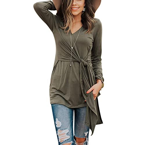1e9459dff741c1 Eshavee Womens Long Sleeve Casual V Neck Flattering Wrap Tie Knot Tops  Blouses Tunics