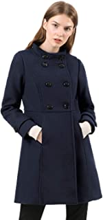 Allegra K Women's Stand Collar Double Breasted Slant Pockets Trendy Outwear Winter Coat