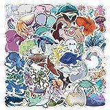 ZZHH 50 Uds Pegatinas de Animales Marinos para niños Lindos Dibujos Animados Medusas tiburón Ballena Pulpo Pegatina para Nevera Botella de Agua papelería