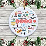 LACE INN 2020 Ornaments for Christmas Tree, Christmas Tree Ornaments, 2020 Annual Events Christmas Ornament Quarantine Christmas Decorations (Ceramic, 1PC)