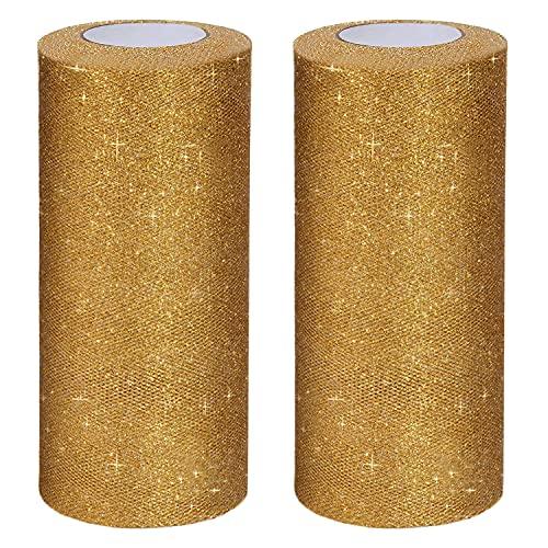 Handi Stitch Tela de Tul en Rollo (Pack de 2) 15 x 23 m - Rollo Tul Dorado con Purpurina Brillante para Boda/Fiesta de Cumpleaños, Decoraciones, Falda Tutú, Manualidades, Moño de Regalo y Más