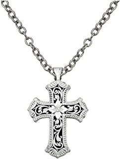Necklace vintage western style,silver crosses /&t hand,length change by moving the pendant,Western fans,gift unisex,80s
