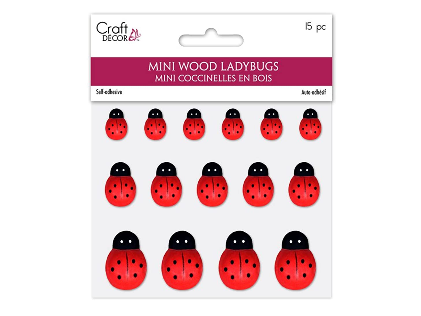 Craft Décor Poster/Picture Mini Wood Ladybugs, 0.5in-1in, Peel-n-Stick, 18-Piece