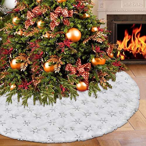 Alishomtll Rund Baumdecke Weihnachtsbaum 120cm Fell Christbaumständer Teppich Christbaumdecke Weihnachtsbaumdecke Röcke mit Schneeflocken Weiß Silber Deko