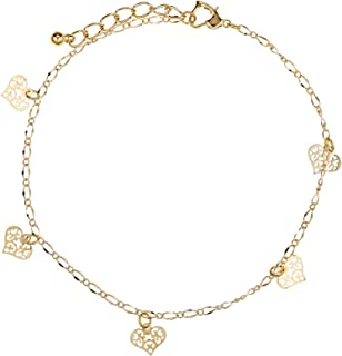 Alwan-Accessories Gold Plated Medium Size Valentine's Anklet with Hearts for Women - EE3816HRM