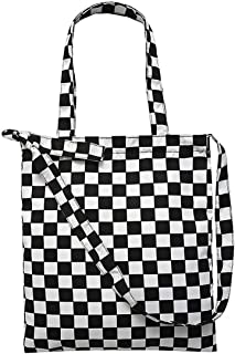 Goodbag Boutique Checkerboard Print Canvas Tote Crossbody Shoulder Bag Handbag