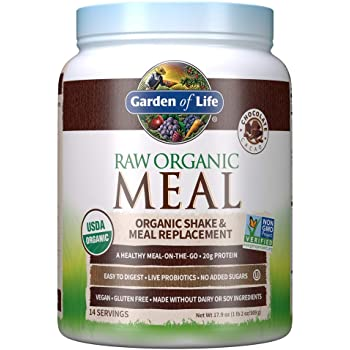 Garden of Life Raw Organic Meal Replacement Powder - Chocolate, 14 Servings, 20g Plant Based Protein Powder, Superfoods, Greens Vitamins Minerals Probiotics Enzymes, All-in-One Meal Replacement Shake