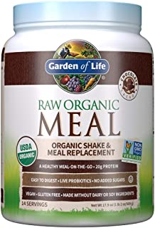 Garden of Life Meal Replacement Chocolate Powder, 14 Servings, Organic Raw Plant Based Protein Powder, Vegan, Gluten-Free ...