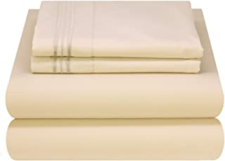 Mezzati Luxury Bed Sheet Set - Soft and Comfortable 1800 Prestige Collection - Brushed Microfiber Bedding (Beige, Cal King Size)