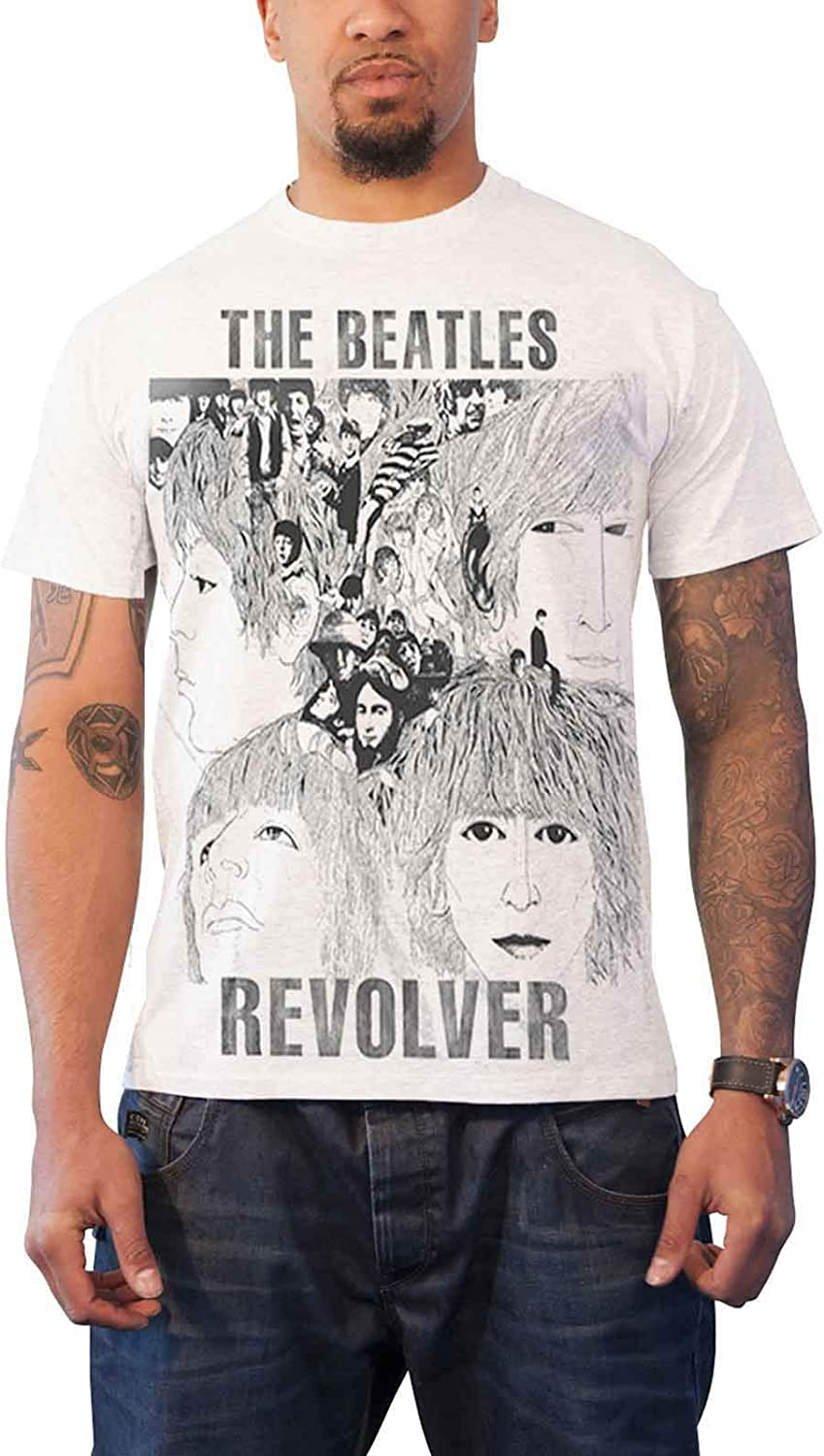 The Beatles T Shirt Revolver Album Cover Band Logo Official Mens New White Size