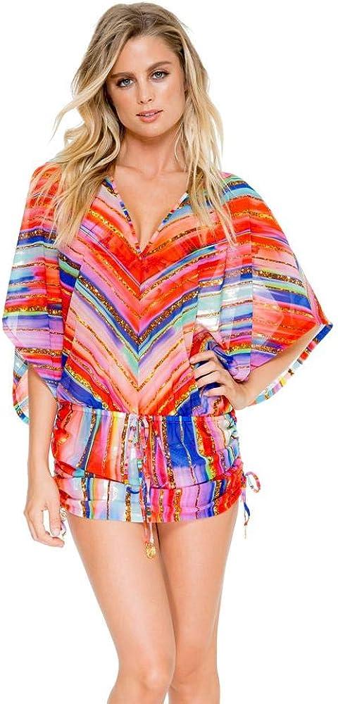 Luli Fama BELLAMAR - Cabana V Neck Dress - M/Multicolor