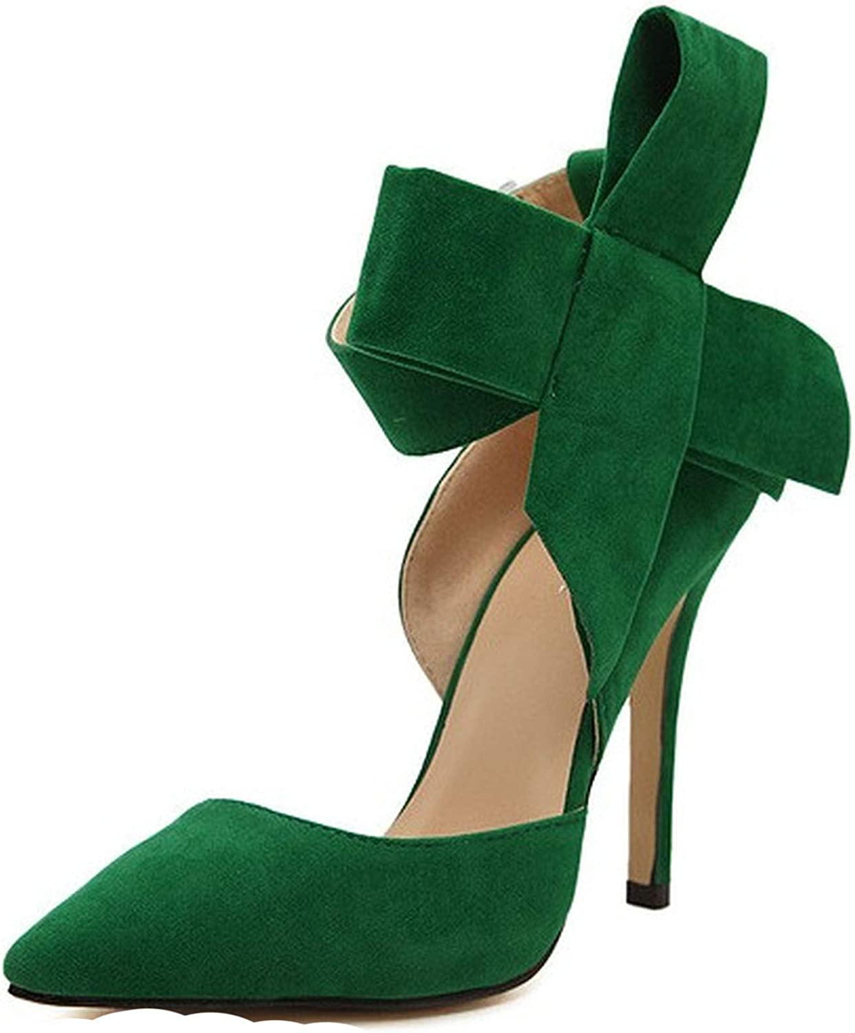 Monica's house Women Big Bow Tie Butterfly Pointed Stiletto shoes Woman High Heels Plus Size Wedding shoes EE-285,Green,8