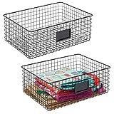 mDesign Juego de 2 cajas multiusos de metal – Caja organizadora con espacio...