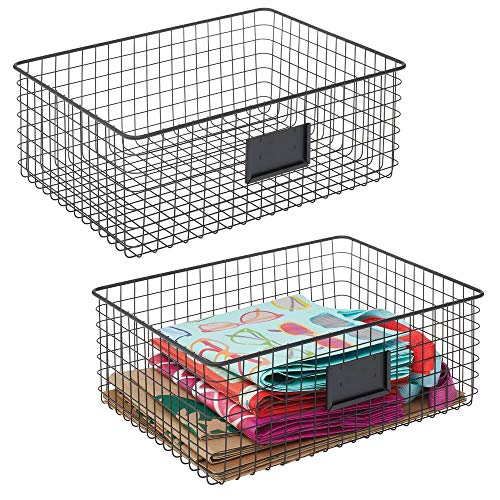 mDesign Farmhouse Decor Metal Wire Food Organizer Storage Bin Baskets with Label Slot for Kitchen Cabinets Pantry Bathroom Laundry Room Closets Garage - 2 Pack - Matte Black
