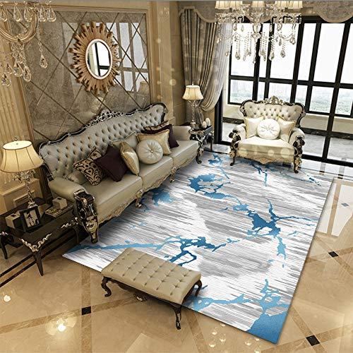 Vlejoy Alfombra Dormitorio Salón Minimalista Geométrico Alfombra Antideslizante-Gris Azul 140x200cm